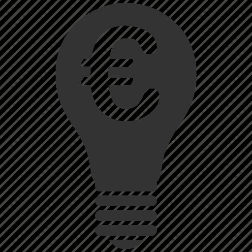 euro, lamp, law, license, patent, right, standard icon