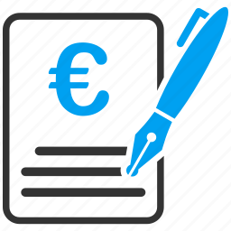 agreement, contract, euro, european, signature, subscribe, writing icon
