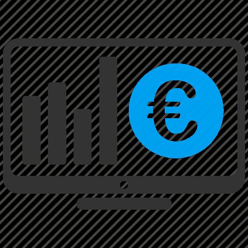 business, desktop, display, euro, european, monitor, stock market icon