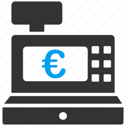 cash register, cashbox, check out, counter, euro, european, seller icon