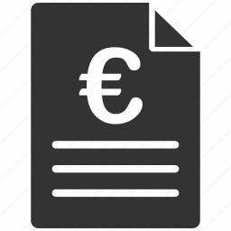 commerce, contract, description, euro, european, offer, purchase order icon