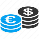 banking, cash, currency, dollar, euro coins, money, treasure icon
