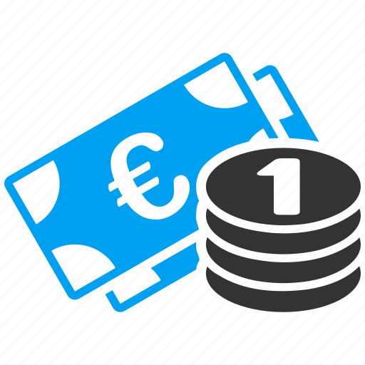 banking, banknotes, cash, currency, euro coins, money, treasure icon