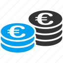 cash, coin stacks, currency, euro coins, finance, gold, money icon