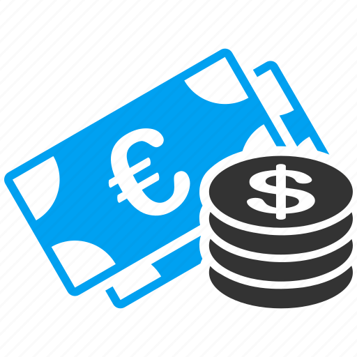 bank, cash, dollar coins, euro banknotes, investment, money, payment icon