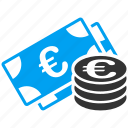 bank, cash, coin stack, euro banknotes, investment, money, payment icon