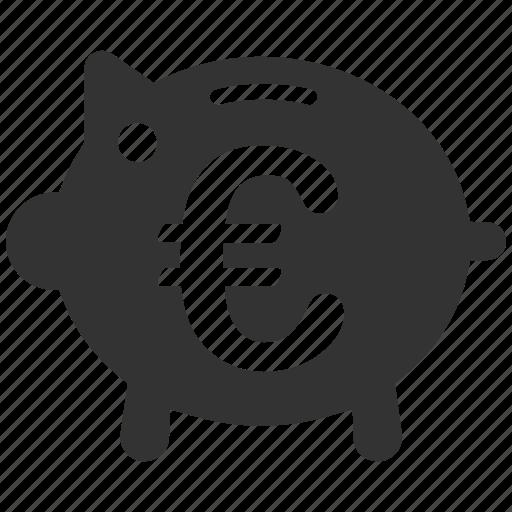 banking, euro, european, pig, piggy bank, savings, treasure icon