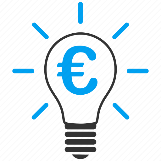 bulb, business idea, education, euro, lamp, light, think icon