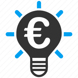 electric, euro, european, innovation, light bulb, power, science icon
