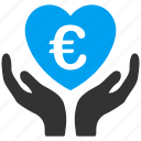 care, euro, european, hands, healthcare, heart, love icon