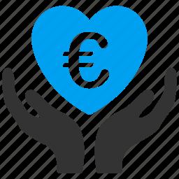 care, euro, european, hands, healthcare, heart, love icon