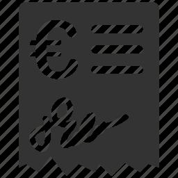 bill, euro, european, invoice, order, payment, receipt icon