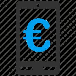 account, communicator, euro, european, mobile terminal, payment, phone icon