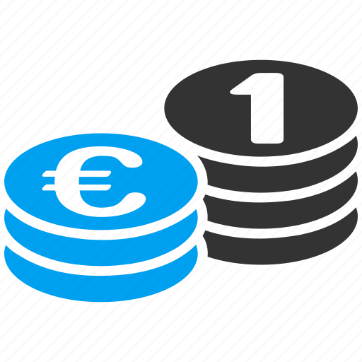 banking, cash, currency, euro coins, money, one coin, treasure icon