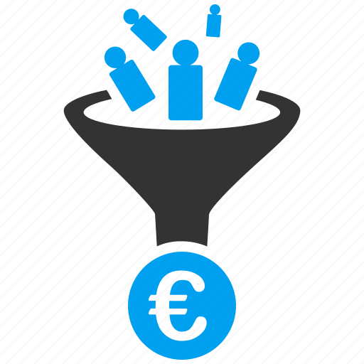 conversion, euro, european, filter, lead, marketing, sales funnel icon
