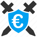 antivirus, euro, guard, protect, protection, shield, swords icon