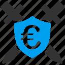 protect, shield, swords, antivirus, guard, protection, euro