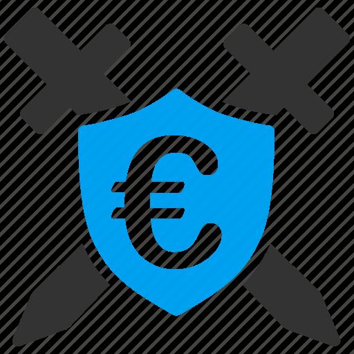 antivirus, euro, guard, protect, protection, shield, swords icon