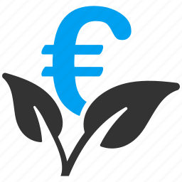 business project, eco, ecology, environment, euro, plant, startup icon