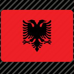 albania, country, european, flag, national icon