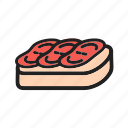 appetizer, bruschetta, cheese, diet, mediterranean, sandwich, tomato icon