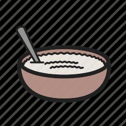 bowl, cinnamon, cuisine, lemon, pudding, rice, tasty icon