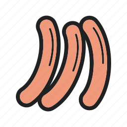 cooked, cuisine, delicious, european, fast, food, sausage icon