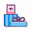 gift, incentive, ticket, travel icon