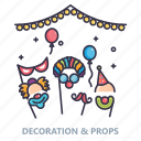 ballons, candles, celebration, decorartion, event, lights, props icon