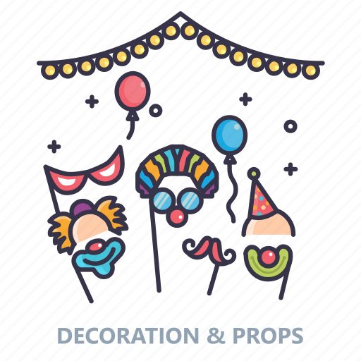 ballons, candles, celebration, decorartion, event, lights, props icon
