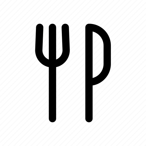 cutlery, eat, food, fork, knife, lunch, restaurant icon
