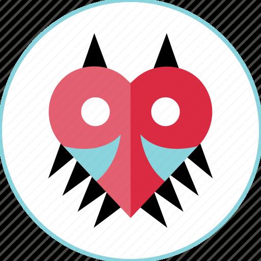 enemy, heart, mark icon