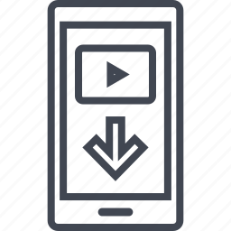 arrow, cell, down, phone, point icon