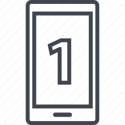 cell, number, one, phone icon