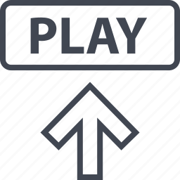 arrow, play, point, video icon