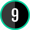 chart, count, nine, number icon
