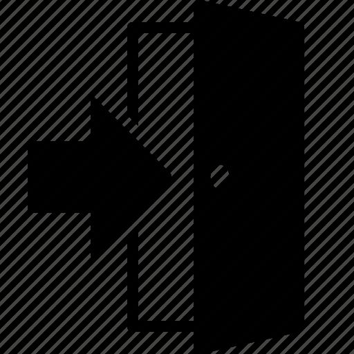 arrow, door, entrance, entry, exit, login, open icon