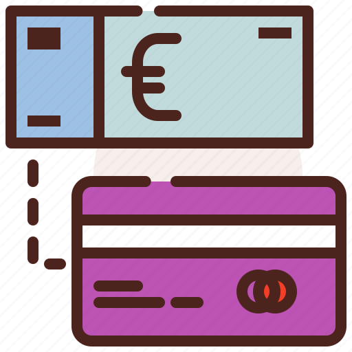 bank, card, euro, finance, fiscal, money, payment icon
