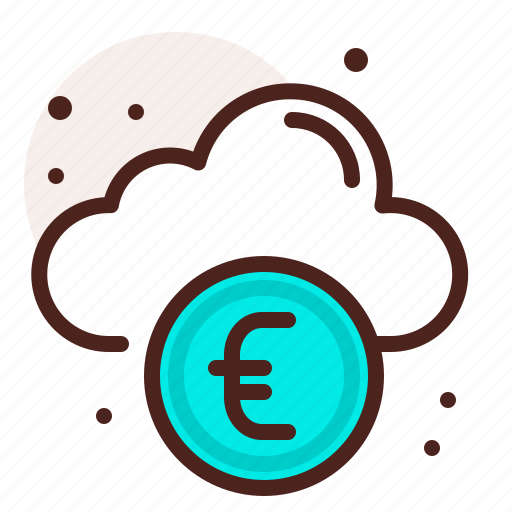 bank, cloud, euro, finance, fiscal, money, payment icon