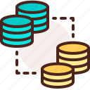 bank, coin, exchange, finance, fiscal, money, payment icon