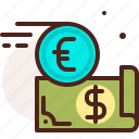 bank, dollar, euro, finance, fiscal, money, payment icon