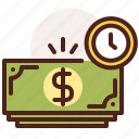 bank, finance, fiscal, money, payment, time icon