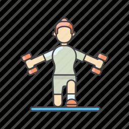 aerobics, dumbbells, exercises, fitness, gym, training, women exercising icon