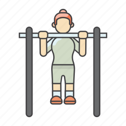 aerobics, exercises, fitness, ligting, pull down, weight training, workout icon