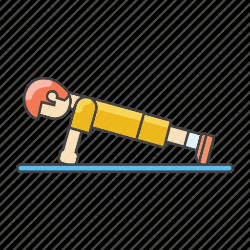 aerobics, exercises, fitness, gym, push, push up, workout icon