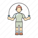 exercises, fitness, gym, jump, jump rope, rope, workout icon