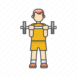 aerobics, bodybuilding, dumbbells, exercises, fitness, gym, man exercising icon
