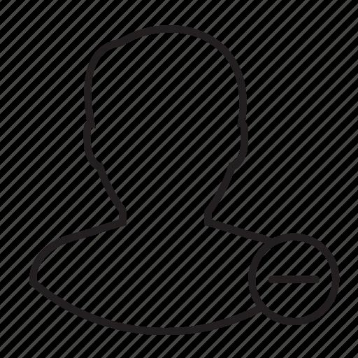 minus, profile, remove, user icon