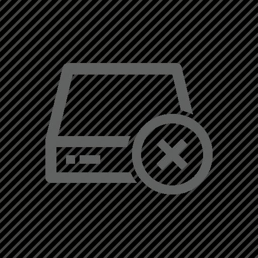 cross, delete, drive, external drive, remove, server icon