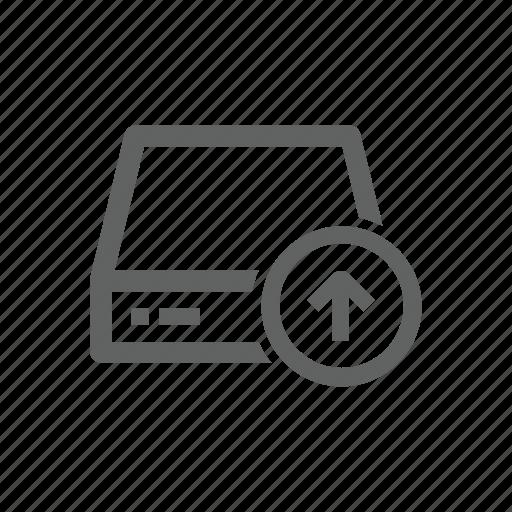 arrow, drive, external drive, server, up, upload icon
